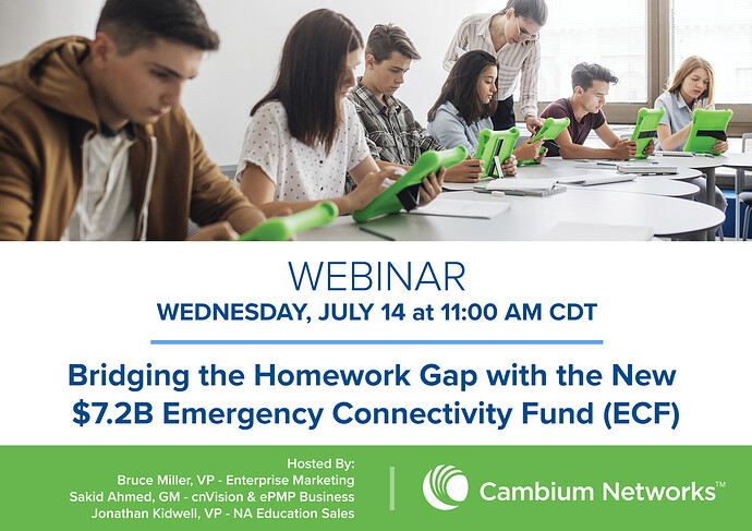 Bridging the Homework Gap with the New $7.2B Emergency Connectivity Fund (ECF) Webinar Social Banner