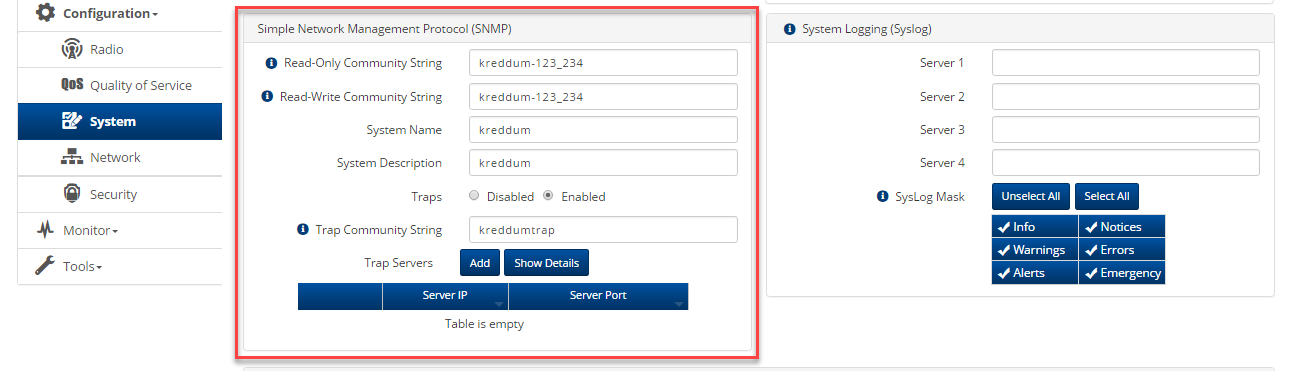 ePMP: Configuring AP System Simple Network Management