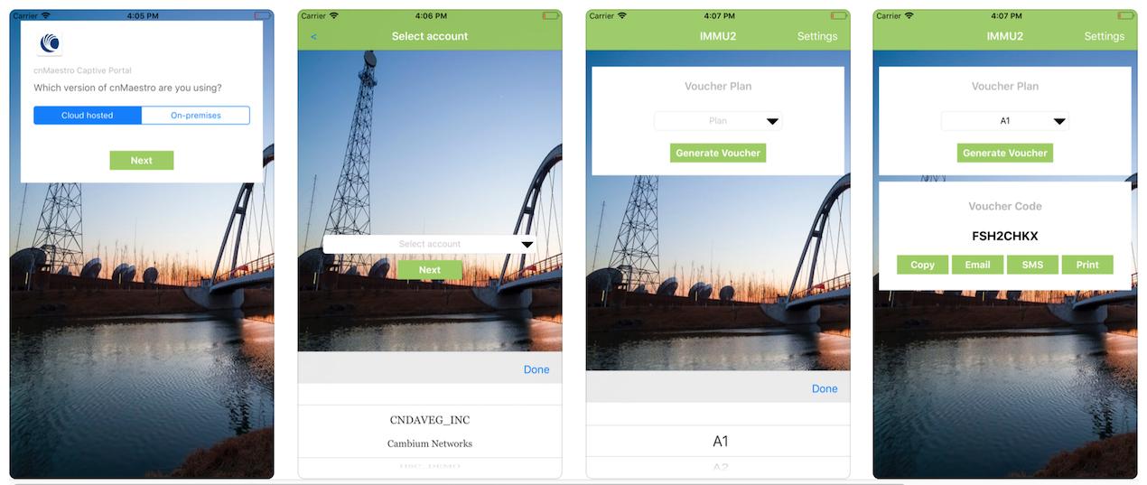 cnConcierge : mobile app for cnMaestro captive portal vouchers